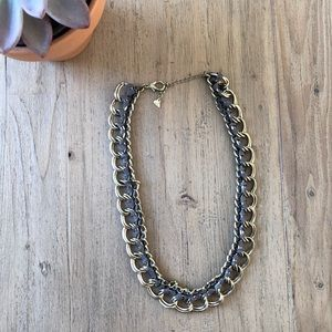 Jewelry - Gold necklace with grey ribbon detail